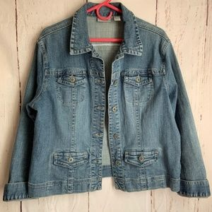 Chico's Platinum Denim Jacket Plus Size 2